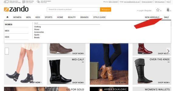 Screenshot of Zando shoes for sale
